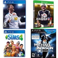 48 Pcs – Sony Video Games – Open Box Like New, New, Used, Like New – FIFA 18 Standard Edition (PlayStation 4), The Sims 4 – PlayStation 4, Madden NFL 18: G.O.A.T. Edition (Xbox One), Michael Jackson: The Experience (PS3)