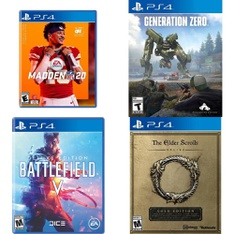 90 Pcs - Sony Video Games - New, Used, Like New, Open Box Like New - Madden NFL 20 (PS4), Battlefield V Deluxe Edition (PlayStation 4), Generation Zero (PS4), The Elder Scrolls Online: Gold Edition (PS4)