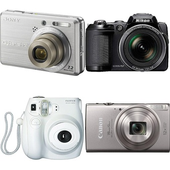 15 Pcs – Point & Shoot Cameras – Refurbished (GRADE C) – Models: DSC-S750, FZ43-BLK, 16162434, L120 – BLK