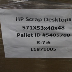 Pallet – 36 Pcs – Desktop Computers – Scrap – HP, Skytech Gaming, SkyTech, DELL
