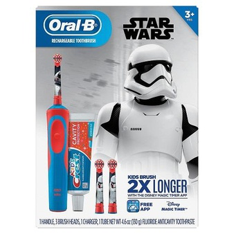 50 Pcs – Oral-B Kid's 3757 Vitality Star Wars Electric Rechargeable Toothbrush with Crest Sparkle Fun Toothpaste – New – Retail Ready