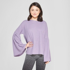 73 Pcs - xhilaration Women's Bell Sleeve Sleep T-Shirt Purple L - New - Retail Ready