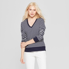 100 Pcs - A New Day Women's Striped Long Sleeve V-Neck Pullover, Navy/Cream S - New - Retail Ready
