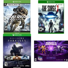 110 Pcs - Microsoft Video Games - New, Open Box Like New, Like New, Used - Tom Clancy's Ghost Recon Breakpoint (XB1), Agents of Mayhem (XB1), Destiny 2 Forsaken Legendary Collection (XB1), The Surge 2 (XB1)