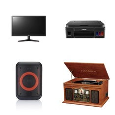 Pallet – 52 Pcs – Receivers, CD Players, Turntables, Monitors, Portable Speakers – Customer Returns – Onn, Canon, Victrola, LG