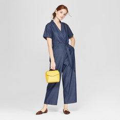 68 Pcs - A New Day Women's Short Sleeve Collared Denim Jumpsuit, Indigo, M - New - Retail Ready
