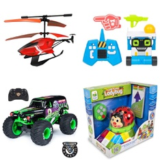 3 Pallets - 277 Pcs - Vehicles, Trains & RC, Boardgames, Puzzles & Building Blocks, Powered, Baby Toys - Customer Returns - New Bright, Sky Rover, Cardinal, Monster Jam