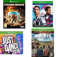 107 Pcs - Microsoft Video Games - Used, New, Open Box Like New, New Damaged Box, Like New - Strange Brigade Launch Edition, Xbox One Just Dance 2016 Game, FIFA 19: Champions Edition (XB1), Just Dance 2017 (XB1)