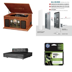 Pallet - 56 Pcs - DVD & Blu-ray Players, Receivers, CD Players, Turntables, Lamps, Parts & Accessories - Customer Returns - onn., Victrola, Antop, HP