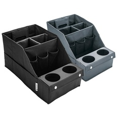 12 Pcs - Member's Mark Car Organizer Set, 2-Pack (Black) - Easy To Clean - New - Retail Ready