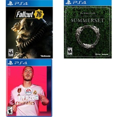 250 Pcs - Sony Video Games - New, Open Box Like New - Fallout 76(PS4), FIFA 20 Standard Edition (PS4), The Elder Scrolls Online: Summerset (PS4)