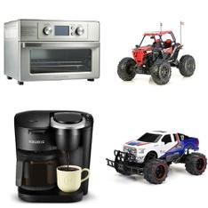 3 Pallets – 91 Pcs – Vehicles, Trains & RC, Toasters & Ovens, Drip Brewers / Perculators, Boardgames, Puzzles & Building Blocks – Customer Returns – New Bright, Farberware, Keurig, Adventure Force