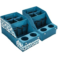 10 Pcs – Member's Mark 980193733 2-Pack Car Auto Seat Storage Box Caddy Organizer Cup Holder Set TEAL – New – Retail Ready