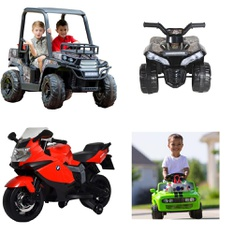 6 Pallets – 36 Pcs – Vehicles, Not Powered – Customer Returns – Realtree, Jetson, Kid Trax KTX, Best Ride on Cars