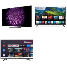 3 Pcs - LED/LCD TVs - Refurbished (GRADE C) - HISENSE, VIZIO, LG