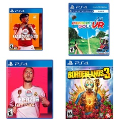 109 Pcs - Sony Video Games - Used, New, Like New - Madden NFL 20 (PS4), FIFA 20 Standard Edition (PS4), Everybody's Golf VR (PS4), Borderlands 3 (PS4)