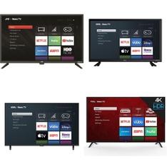 12 Pcs – LED/LCD TVs – Refurbished (BRAND NEW, GRADE A, GRADE B) – Onn, JVC, VIZIO, TCL