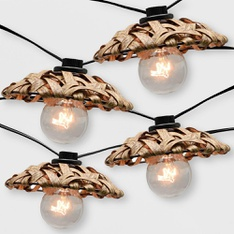 150 Pcs - Opalhouse 10ct Outdoor Natural Woven Open Hood String Lights - New - Retail Ready