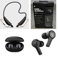 5 Pcs – 1MORE, TOUGH TESTED, Skullcandy, JLab Audio Headphones & Portable Speakers – Refurbished (GRADE A) – Models: E1026BT-BLACK, TTHFBP2, S2BBW-L638, JBuds Air Executive True Wireless Earbuds, Black