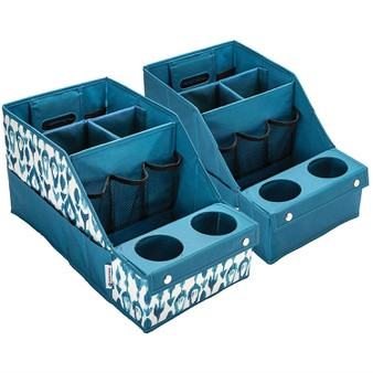 50 Pcs – Member's Mark 980193733 2-Pack Car Auto Seat Storage Box Caddy Organizer Cup Holder Set TEAL – New – Retail Ready