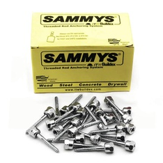 29 Pcs - Sammys 8003957-25 Vertical Rod Anchor Super Screw with 1/4 in. Threaded Rod Fitting, 1/4 x 2'' Screw, for Wood - 4 pack (100) - New, Open Box Like New - Retail Ready
