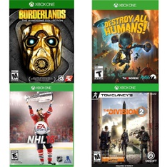 21 Pcs – Microsoft Video Games – Open Box Like New, Used, New – Borderlands: The Handsome Collection (Xbox One), Tom Clancy's The Division 2 – Xbox One, NHL 16 – Xbox One, Destroy All Humans! (XB1)