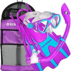 14 Pcs - U.S. Divers 241705 Youth Buzz Junior Snorkeling Set, Purple - Medium - New - Retail Ready