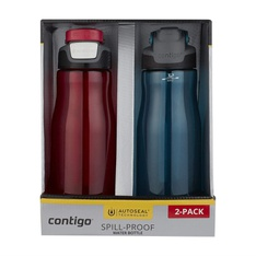 50 Pcs – Contigo 2094326 Autoseal Fit 32 oz. Spill Proof Water Bottle, 2 Pack Red/Blue – New – Retail Ready