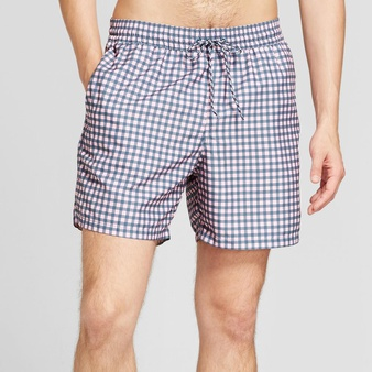 100 Pcs – Goodfellow Men's 18″ Elastic Waist In Print Repreve, Large Pink Gingham – New – Retail Ready