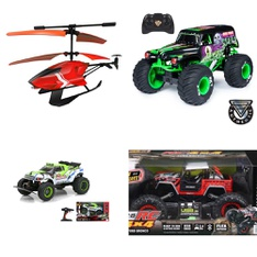 Pallet – 54 Pcs – Vehicles, Trains & RC, Pretend & Dress-Up, Powered – Customer Returns – New Bright, Sky Rover, Monster Jam, WowWee
