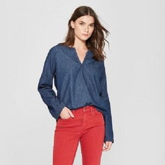 35 Pcs - Universal Thread Women's Long Sleeve Denim Woven Top - Dark Wash L - New - Retail Ready