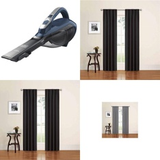 12 Pallets - 823 Pcs - Curtains & Window Coverings, Covers, Mattress Pads & Toppers, Vacuums, Comforters & Duvets - Customer Returns - Eclipse, Mainstay's, BLACK & DECKER, Better Homes & Gardens
