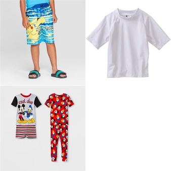 104 Pcs – Clothing -> Boys – New – Retail Ready – Pokemon, mickey mouse & friends, Kanu Surf