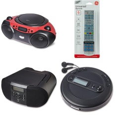 Pallet - 228 Pcs - Accessories, Boombox, Receivers, CD Players, Turntables - Customer Returns - onn., Onn, GE, One For All
