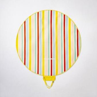 75 Pcs – Sun Squad Round Variegated Stripe Picnic Blanket – New – Retail Ready