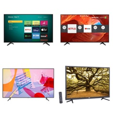 8 Pcs - LED/LCD TVs - Refurbished (GRADE A, GRADE B) - HISENSE, TCL, Samsung, SHARP