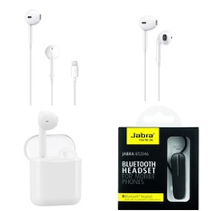 3 Pallets – 1901 Pcs – In Ear Headphones, Lamps, Parts & Accessories, Security & Surveillance, Over Ear Headphones – Customer Returns – Apple, Onn, One For All, Jabra