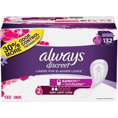 100 Pcs - Always 80330780 Discreet Plus Incontinence Liners, Very Light Absorbency, Long Length (132 Count) - New – Retail Ready