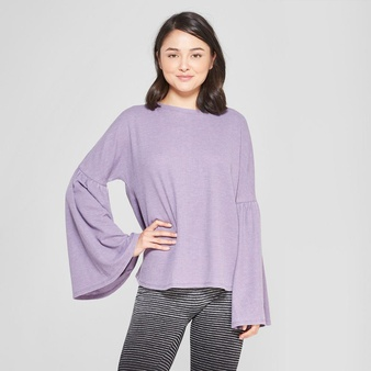 73 Pcs – xhilaration Women's Bell Sleeve Sleep T-Shirt Purple L – New – Retail Ready