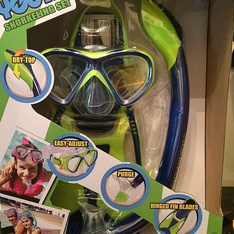 13 Pcs - U.S. Divers Youth Silicone Snorkeling Set- Medium (1-4) Blue/green - New - Retail Ready