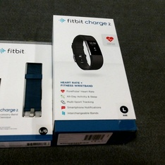 19 Pcs – Fitbit, FB407SBKL, Charge 2 Heart Rate + Fitness Wristband, Black, Large – Refurbished (GRADE A)
