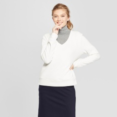 55 Pcs - A New Day Women's Long Sleeve V-Neck Pullover - Cream M - New - Retail Ready