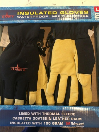 50 Pcs – Habit GSW2L Leather & Spandex All Purpose Work Gloves L 2 Pack – New – Retail Ready
