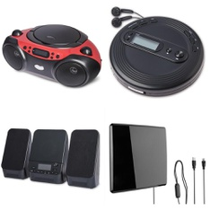 Pallet - 192 Pcs - Accessories, Boombox, Receivers, CD Players, Turntables - Customer Returns - onn., Onn, One For All, GE