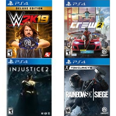 147 Pcs - Sony Video Games - New, Used - Injustice 2 - Standard Edition, Elex (PlayStation 4), Tom Clancy Rainbow Six Siege (PS4), The Crew 2 (PS4)