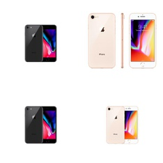 8 Pcs - Apple iPhone 8 - Refurbished (GRADE B - Unlocked) - Models: MQ6K2LL/A, 3D032LL/A, MQ6M2LL/A, MQ7H2LL/A