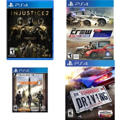 74 Pcs - Sony Video Games - Used, New - Dangerous Driving(PlayStation 4), Far Cry New Dawn Standard Edition (PS4), Tom Clancy's The Division 2 (PS4), Injustice 2 Legendary Edition (PS4)