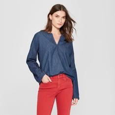 100 Pcs - Universal Thread Women's Denim Long Sleeve Woven Top - Dark Wash M - New - Retail Ready