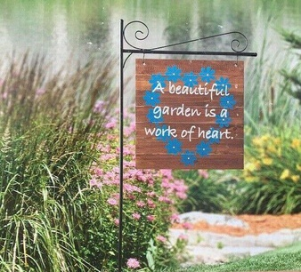 31 Pcs – Member's Mark 55″H Wooden Garden Flag With Steel Stake – New – Retail Ready