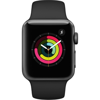 25 Pcs – Apple Watch Gen 3 Series 3 38mm Space Gray Aluminum – Black Sport Band MTF02LL/A – Refurbished (GRADE A)